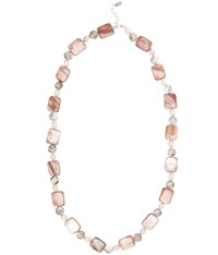 Viyella Pink Shell Pearl And Facet Necklace
