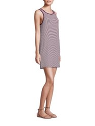 Paige Mia Striped Tank Dress White Dark Purple Stripe