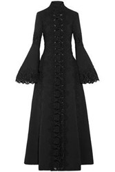 Elie Saab Guipure Lace Paneled Cotton And Wool Blend Coat Black