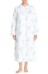 Plus Size Women's Carole Hochman Designs Zip Front Quilted Robe Cascading Floral Ivory Blue