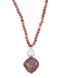 Bavna Long Multicolored Tourmaline And Pearl Beaded Pendant Necklace Women's