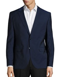 Hugo Blended Wool Long Sleeve Jacket Blue