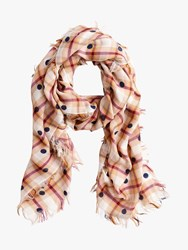 J.Crew Jaqueline Wool Rich Dot Check Scarf Multi Plaid