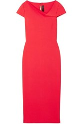 Roland Mouret Keel Draped Woven Midi Dress Red