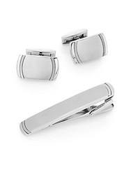 Lotus Titanium And Stainless Steel Cuff Link And Tie Bar Set Silver
