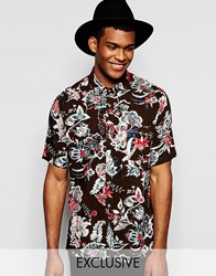 Reclaimed Vintage Floral Boxy Shirt In Regular Fit Brown
