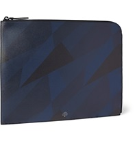 Mulberry Geometric Print Grained Leather Document Case Blue