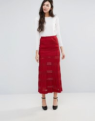 Endless Rose Lace Maxi Skirt Red