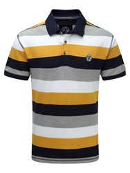 Tog 24 Wells Stripe Mens Polo Shirt Sunshine Yellow
