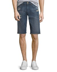 True Religion Men's Ricky Straight Leg Denim Shorts Blue