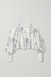 By Malene Birger Cold Shoulder Printed Twill Blouse White