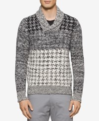 Calvin Klein Men's Slim Fit Shawl Collar Multi Textured Houndstooth Sweater Black Snow White Combo