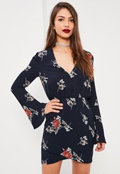 Missguided Navy Floral Print Flared Sleeve Bodycon Dress Black
