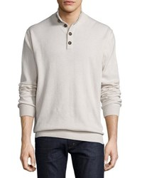 Luciano Barbera Cashmere Button Collar Sweater Ivory