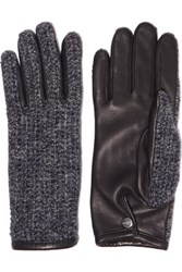 Agnelle Chloe Leather And Alpaca Gloves Navy