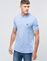 Lyle And Scott Polo Shirt With Woven Collar In Blue Blue Marl