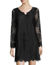 Neiman Marcus Eyelash Lace Long Sleeve Slip Dress Black