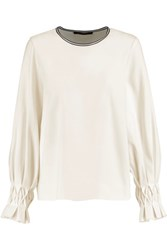 Mother Of Pearl Cora Pleated Twill Top Ivory
