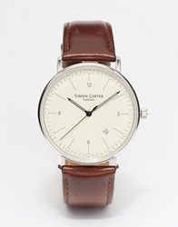 Simon Carter Leather Strap Watch Brown