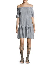 Beach Lunch Lounge Striped Off Shoulder Dress Blue White