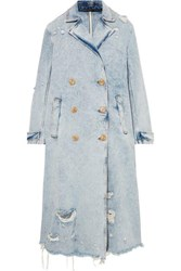 Alexander Wang Distressed Denim Trench Coat Light Denim