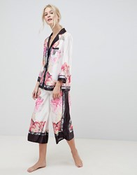 Ted Baker B By Painted Posey Revere Top And Wide Leg Pj Bottoms Set Pink