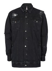 Topman Aaa Black Distressed Longline Denim Jacket
