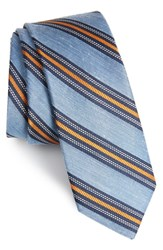 The Tie Bar Rangel Stripe Silk And Linen Light Blue