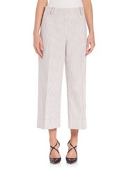 Thom Browne Cropped Seersucker Trousers Light Grey