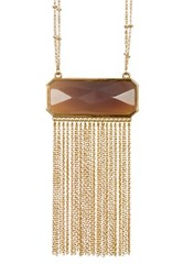 Catherine Malandrino Semi Precious Stone Fringe Necklace Gray