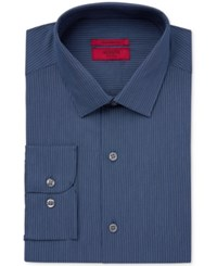 Alfani Red Men's Fitted Performance Navy Turquoise Micro Stripe Dress Shirt Only At Macy's