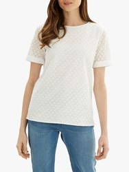 Jaeger Broderie Cotton Top White