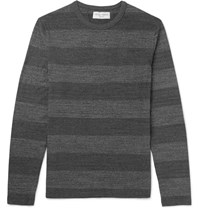 Officine Generale Slim Fit Striped Cotton Jersey T Shirt Gray
