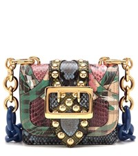 Burberry The Buckle Embellished Leather And Snakeskin Shoulder Bag Multicoloured