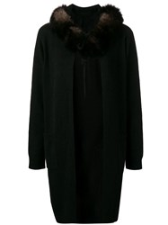 Max And Moi Fox Fur Hooded Cardigan Black