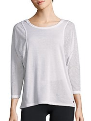 Betsey Johnson Performance Solid Mesh Batwing Sleeve Hoodie White