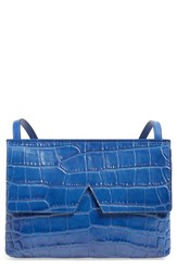 Vince 'Small' Croc Embossed Leather Crossbody Bag Blue Cobalt