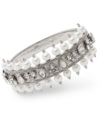 Marchesa Crystal And Imitation Pearl Bangle Bracelet Silver