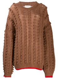 Marco De Vincenzo Contract Trim Chunky Jumper Brown