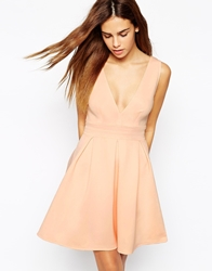 Oh My Love Plunge Neck Skater Dress