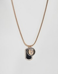 Aldo Link Chain Necklace With Dog Tag Pendant In Gold And Black