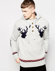 Brave Soul Chunky Knitted Christmas Jumper Grey