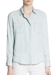 Saks Fifth Avenue Red Polka Dot Roll Tab Sleeve Chambray Top Cloud Blue