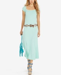 Polo Ralph Lauren Scoop Neck Maxi Dress Aqua Verde