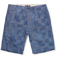 Alex Mill Slim Fit Patchwork Cotton Dobby Shorts Blue