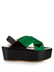 Chrissie Morris Jupiter Crossover Suede Sandals Green