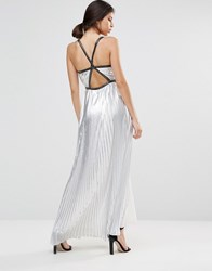 True Decadence Silver Metallic Pleated Maxi Dress Silver