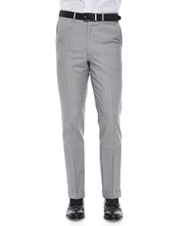 Brioni Solid Wool Trousers Light Gray