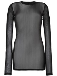 Blk Dnm Sheer Longsleeved Knit Blouse Black