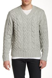 Dkny Cable V Neck Sweater Gray